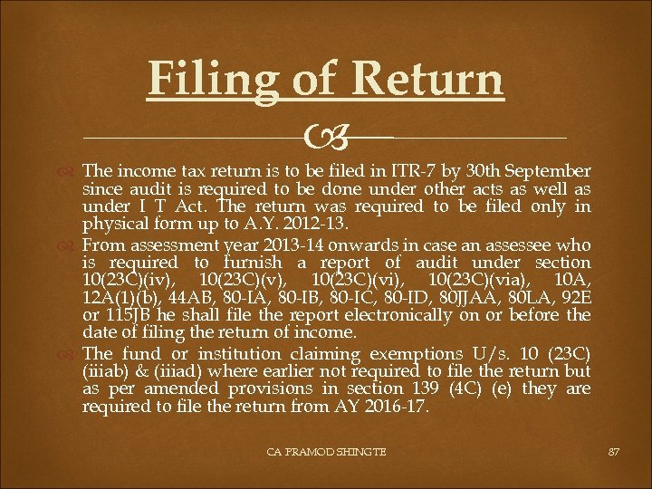 Filing of Return The income tax return is to be filed in ITR-7 by
