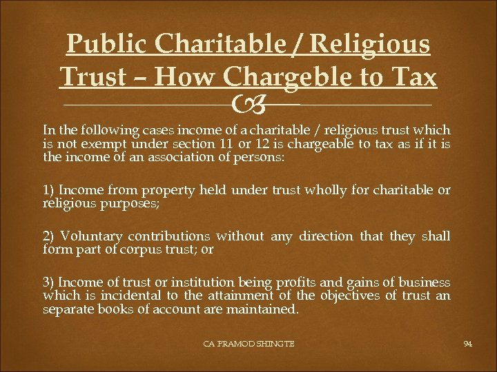 Public Charitable / Religious Trust – How Chargeble to Tax In the following cases