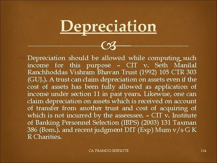 Depreciation should be allowed while computing such income for this purpose – CIT v.