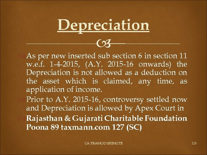 Depreciation As per new inserted sub section 6 in section 11 w. e. f.