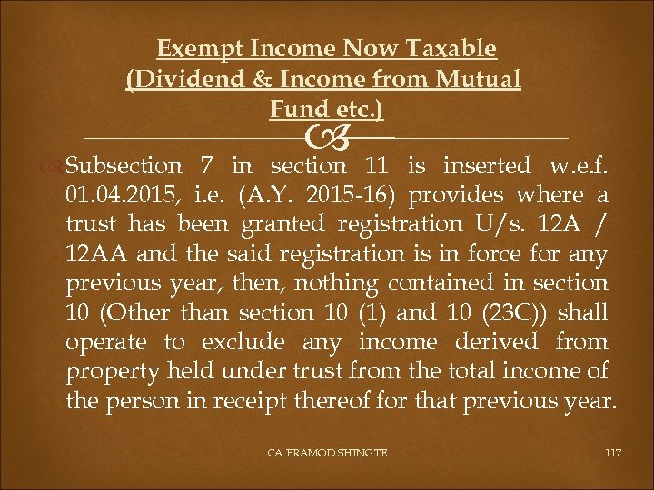 Exempt Income Now Taxable (Dividend & Income from Mutual Fund etc. ) 11 section