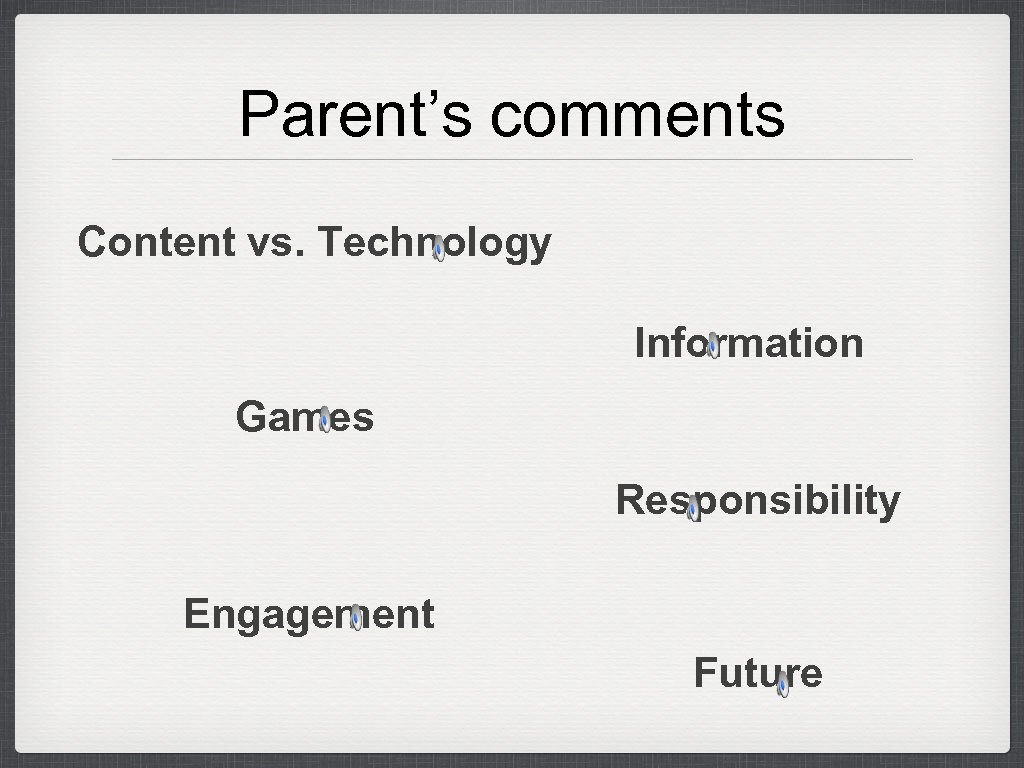 Parent's comments Content vs. Technology Information Games Responsibility Engagement Future