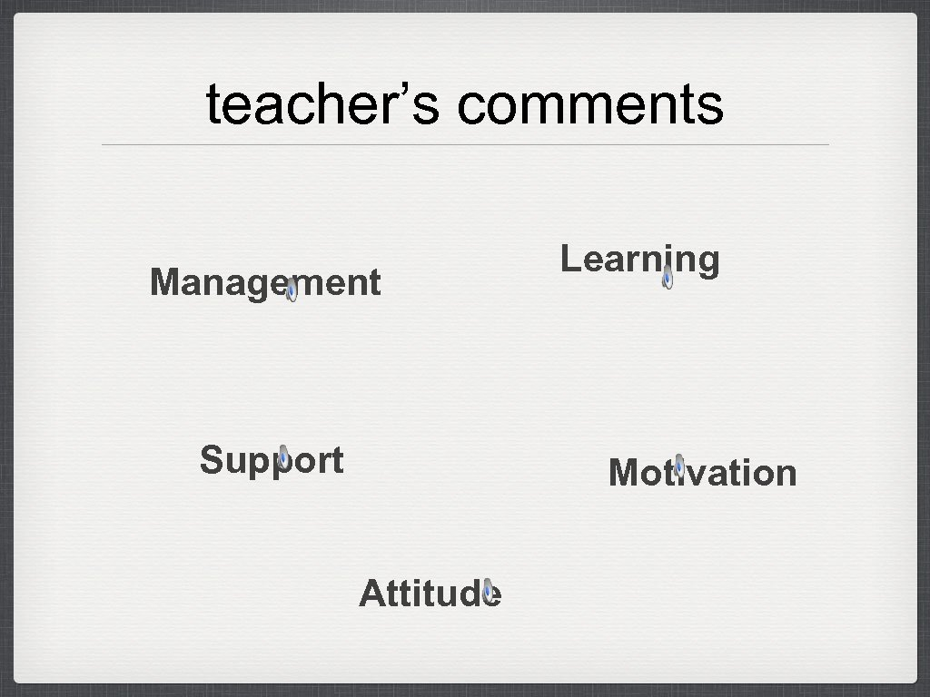teacher's comments Management Support Learning Motivation Attitude