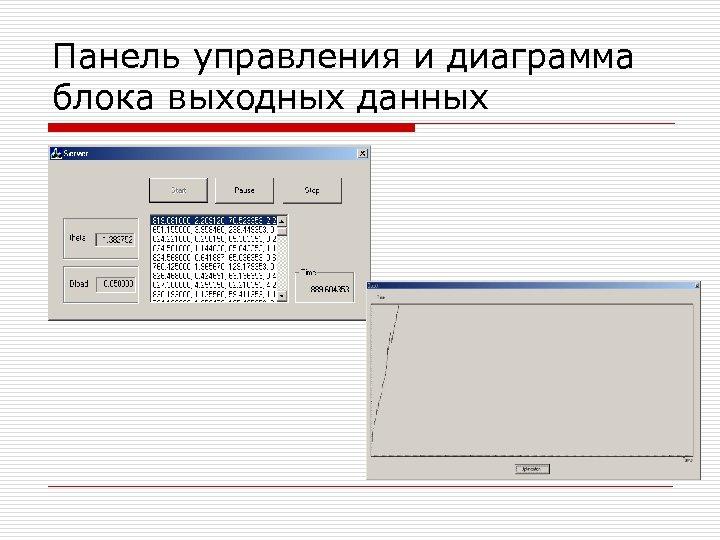 Панель управления и диаграмма блока выходных данных