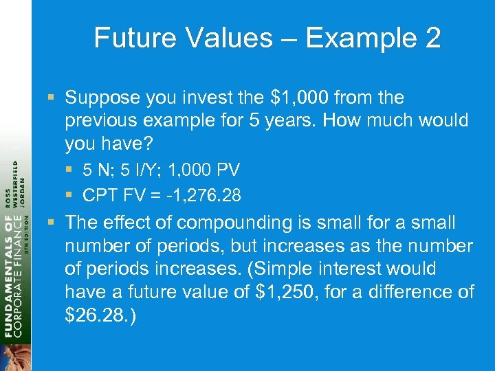 Future Values – Example 2 § Suppose you invest the $1, 000 from the
