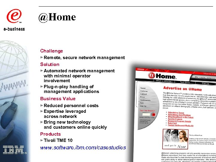 @Home Challenge Remote, secure network management Solution Automated network management with minimal operator involvement
