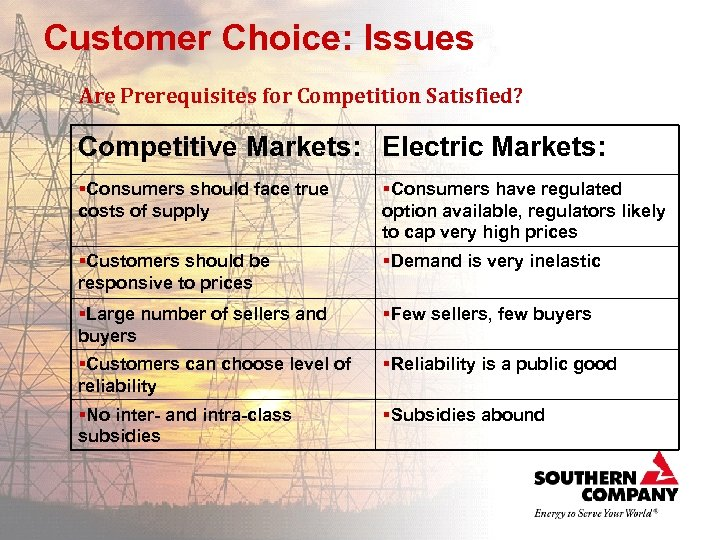 Customer Choice: Issues Are Prerequisites for Competition Satisfied? Competitive Markets: Electric Markets: §Consumers should