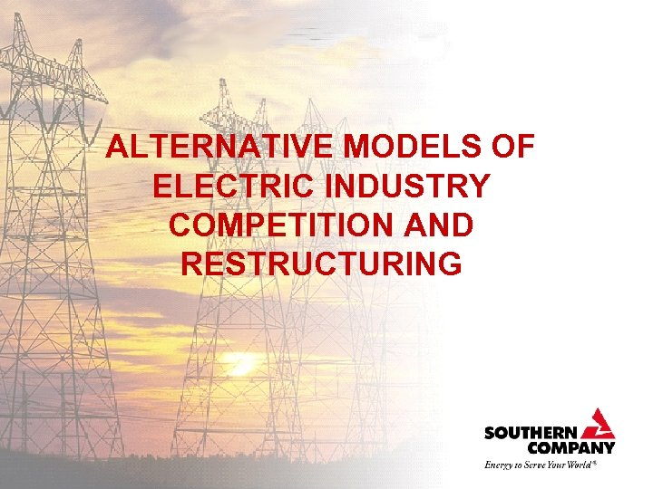 ALTERNATIVE MODELS OF ELECTRIC INDUSTRY COMPETITION AND RESTRUCTURING