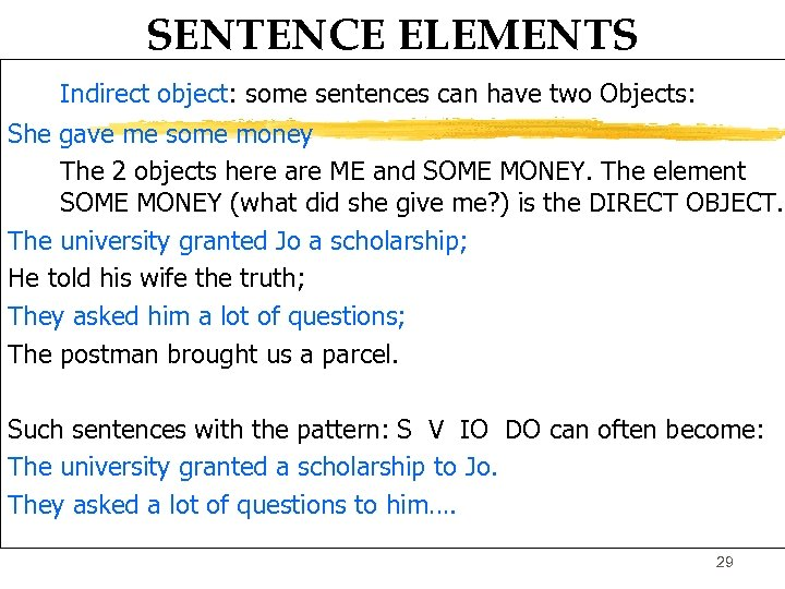 SENTENCE ELEMENTS Indirect object: some sentences can have two Objects: She gave me some