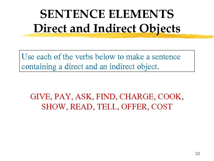 SENTENCE ELEMENTS Direct and Indirect Objects Use each of the verbs below to make
