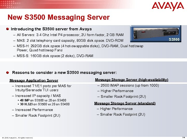 New S 3500 Messaging Server Introducing the S 3500 server from Avaya – All