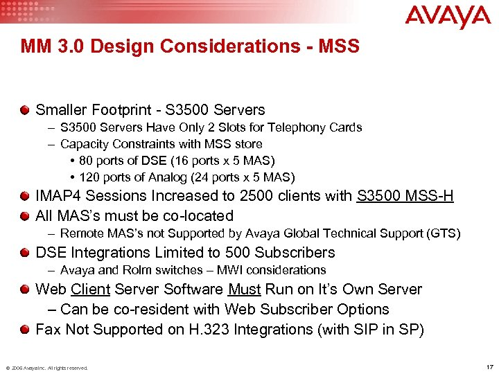 MM 3. 0 Design Considerations - MSS Smaller Footprint - S 3500 Servers –