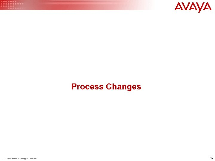 Process Changes © 2006 Avaya Inc. All rights reserved. 23