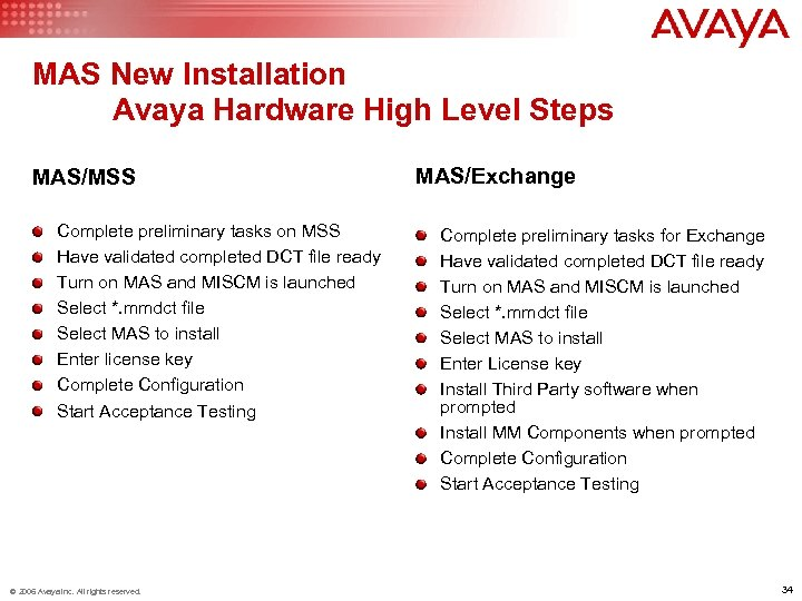 MAS New Installation Avaya Hardware High Level Steps MAS/MSS Complete preliminary tasks on MSS