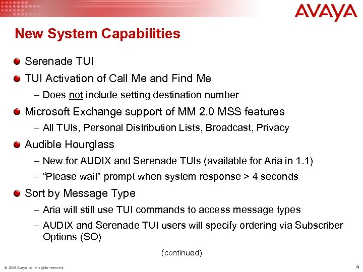New System Capabilities Serenade TUI Activation of Call Me and Find Me – Does