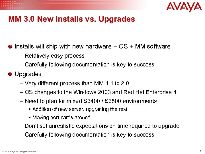 MM 3. 0 New Installs vs. Upgrades Installs will ship with new hardware +