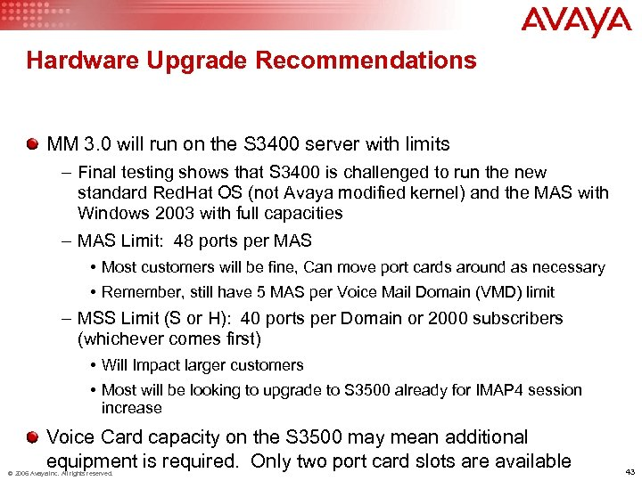 Hardware Upgrade Recommendations MM 3. 0 will run on the S 3400 server with