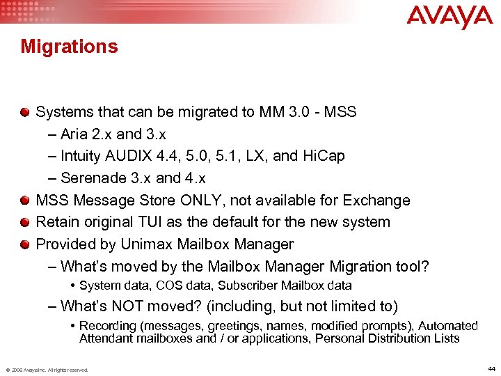 Migrations Systems that can be migrated to MM 3. 0 - MSS – Aria