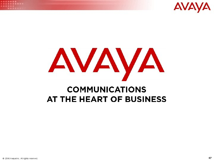 © 2006 Avaya Inc. All rights reserved. 47