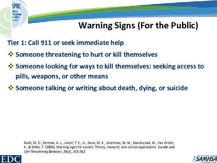 Warning Signs (For the Public) Tier 1: Call 911 or seek immediate help v