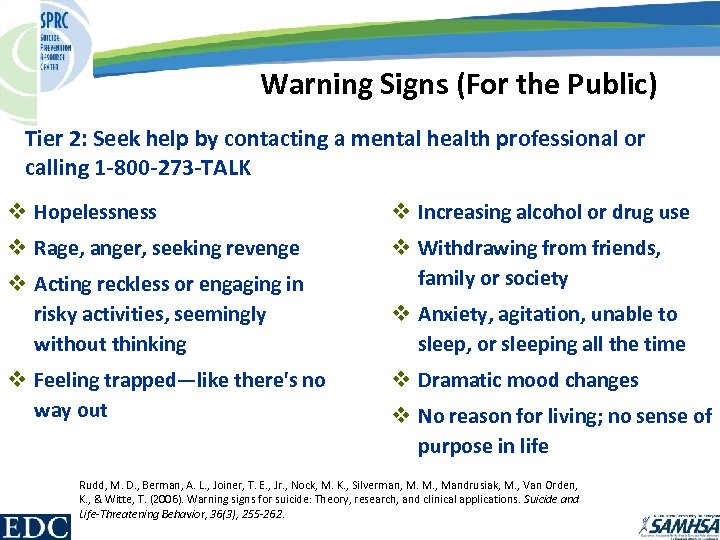 Warning Signs (For the Public) Tier 2: Seek help by contacting a mental health