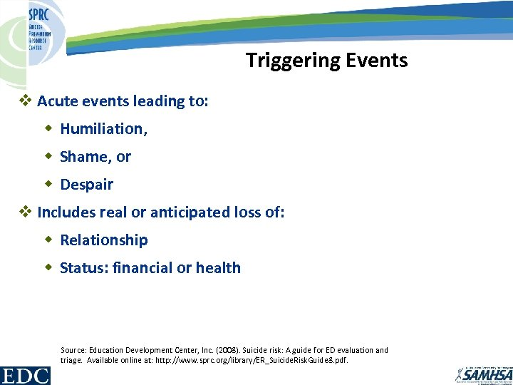 Triggering Events v Acute events leading to: w Humiliation, w Shame, or w Despair
