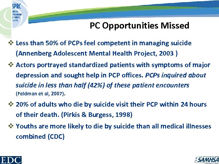 PC Opportunities Missed v Less than 50% of PCPs feel competent in managing suicide