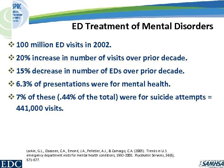 ED Treatment of Mental Disorders v 100 million ED visits in 2002. v 20%