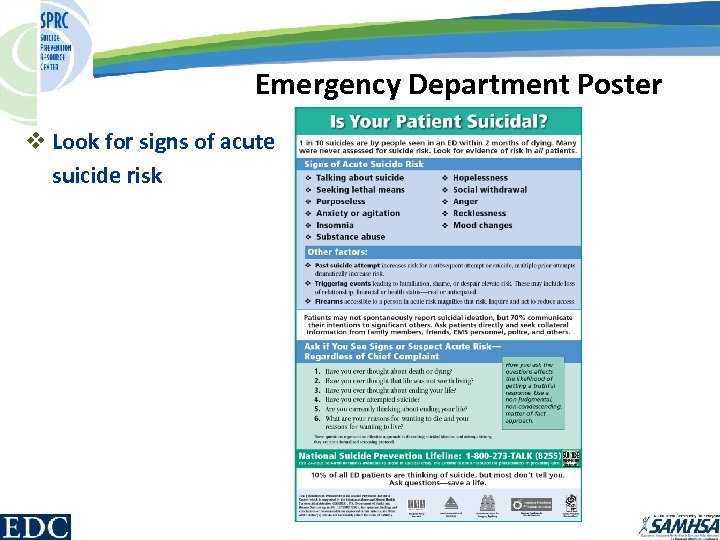 Emergency Department Poster v Look for signs of acute suicide risk