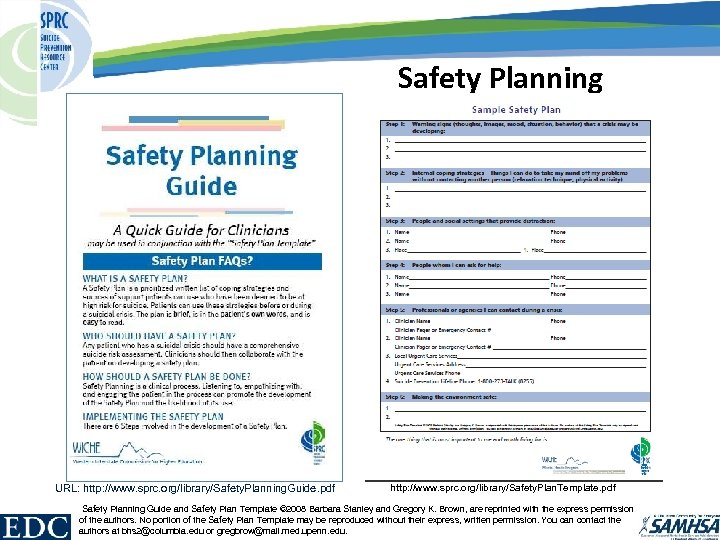 Safety Planning URL: http: //www. sprc. org/library/Safety. Planning. Guide. pdf http: //www. sprc. org/library/Safety.