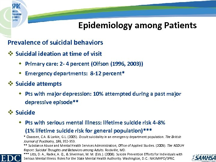 Epidemiology among Patients Prevalence of suicidal behaviors v Suicidal ideation at time of visit