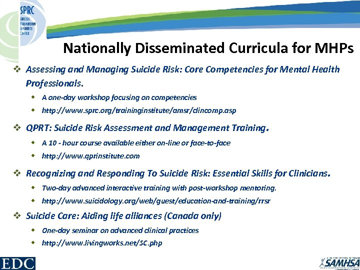 Nationally Disseminated Curricula for MHPs v Assessing and Managing Suicide Risk: Core Competencies for