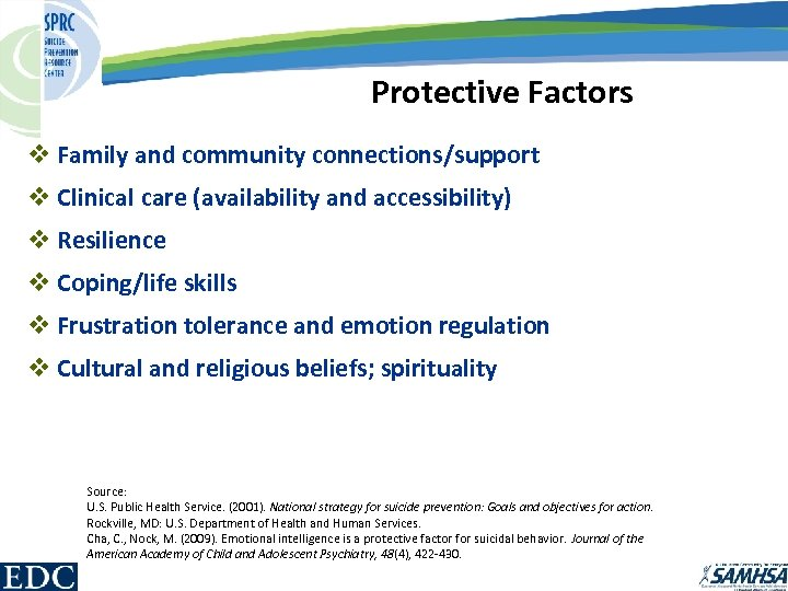 Protective Factors v Family and community connections/support v Clinical care (availability and accessibility) v