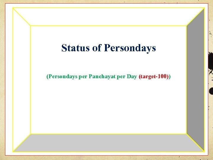 Status of Persondays (Persondays per Panchayat per Day (target-100))