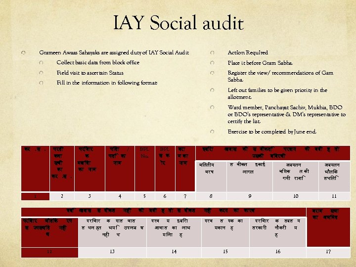 IAY Social audit Grameen Awaas Sahayaks are assigned duty of IAY Social Audit Action