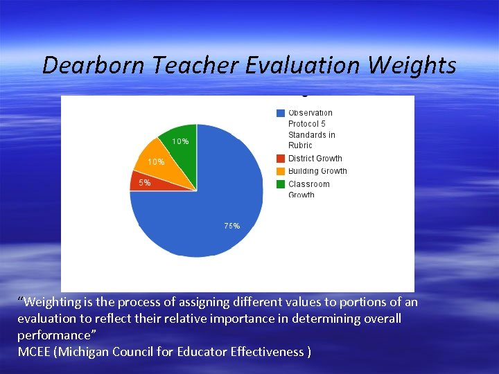 """Dearborn Teacher Evaluation Weights """"Weighting is the process of assigning different values to portions"""