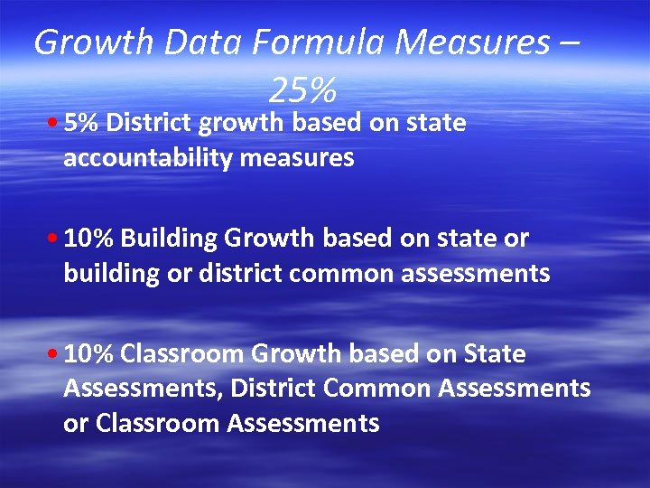 Growth Data Formula Measures – 25% • 5% District growth based on state accountability