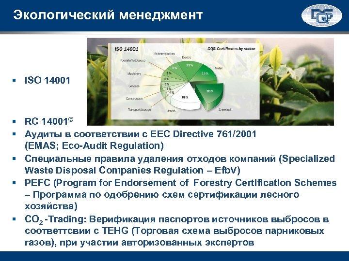 Экологический менеджмент § ISO 14001 § RC 14001© § Аудиты в соответствии с EEC