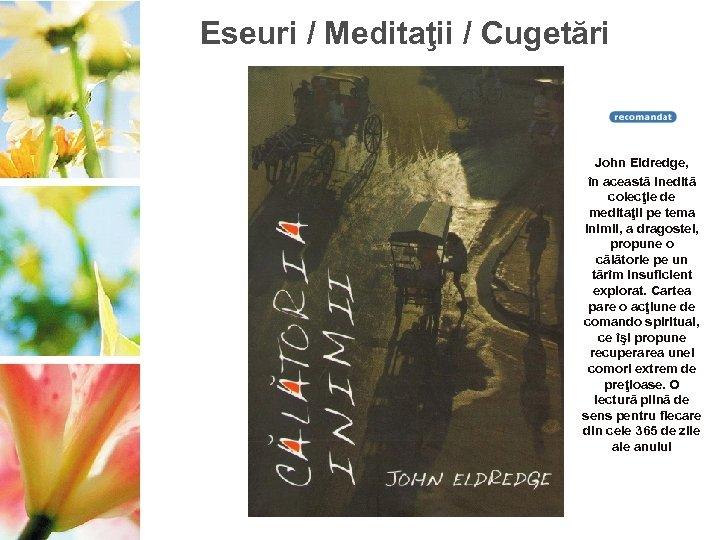 Eseuri / Meditaţii / Cugetări John Eldredge, în această inedită colecţie de meditaţii pe
