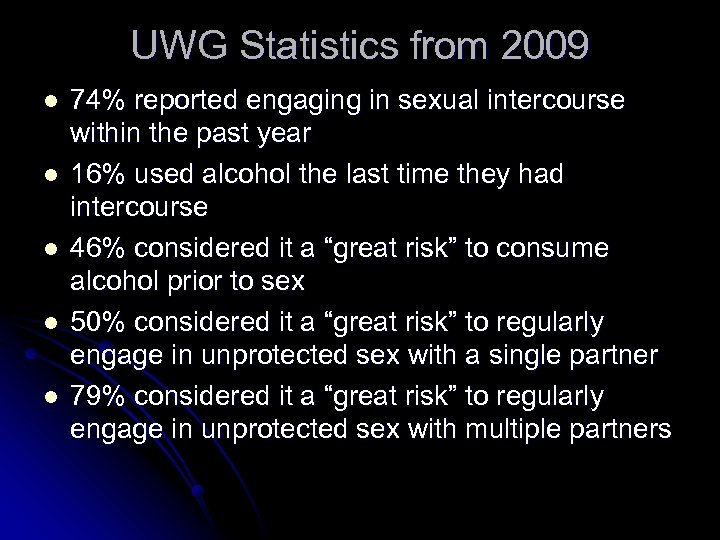 UWG Statistics from 2009 l l l 74% reported engaging in sexual intercourse within
