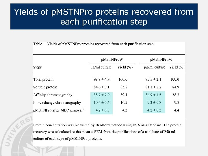 Yields of p. MSTNPro proteins recovered from each purification step