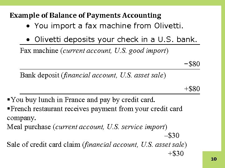 Example of Balance of Payments Accounting • You import a fax machine from Olivetti.