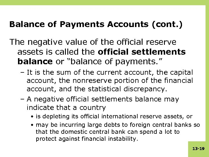 Balance of Payments Accounts (cont. ) The negative value of the official reserve assets
