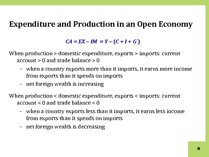 Expenditure and Production in an Open Economy CA = EX – IM = Y