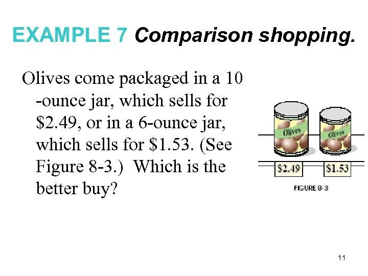 EXAMPLE 7 Comparison shopping. Olives come packaged in a 10 -ounce jar, which sells