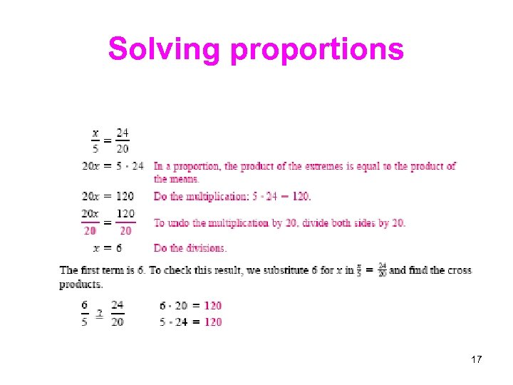 Solving proportions 17