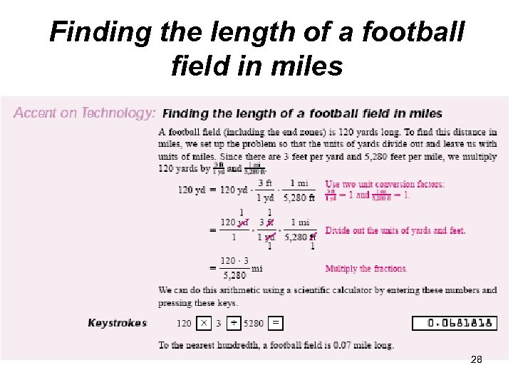 Finding the length of a football field in miles 28