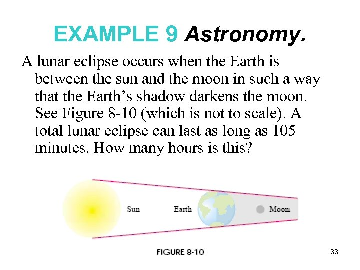 EXAMPLE 9 Astronomy. A lunar eclipse occurs when the Earth is between the sun