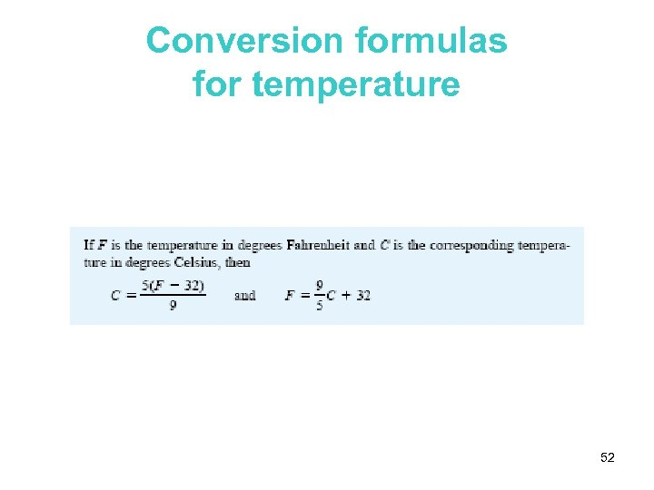 Conversion formulas for temperature 52