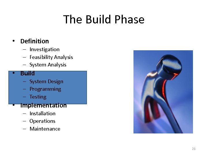 The Build Phase • Definition – Investigation – Feasibility Analysis – System Analysis •